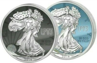 2016 WALKING LIBERTY MOON & SUN Silver Coin Set, Diamond Dust & Ruthenium.