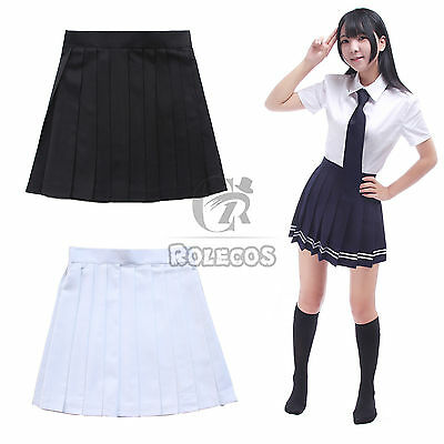 US Ship Women Japanese JK School Uniform Sailor Pleated Short Solid Mini Skirt