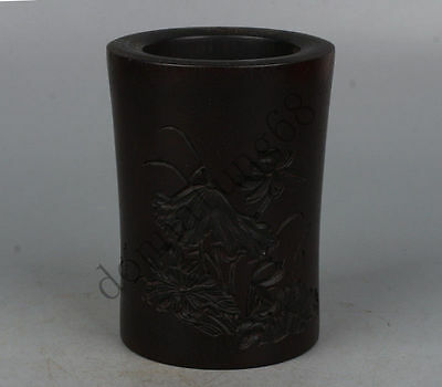 Chinese Exquisite hand-carved lotus carving Wooden Pen holder