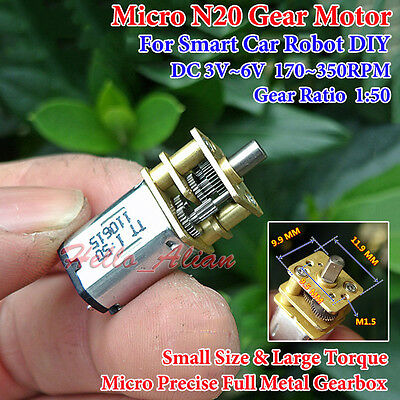 Micro N20 Full Metal Gearbox Gear Motor DC6V 350RPM Large Torque Smart Car Robot