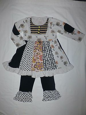 Boutique Girls Black White Long Sleeve Dress Ruffle Pants Outfit Size 130 4/5