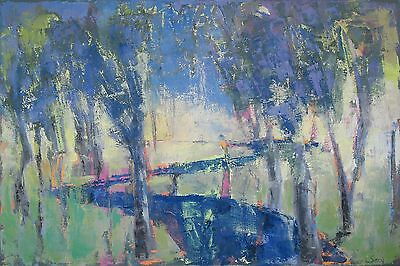 """LSMith original oil painting abstract landscape on canvas 20"""" X 30"""" forest scene"""