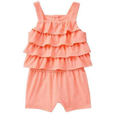 NWT CRAZY 8 Girls Coral Pink Sleeveless Ruffle Romper Sunsuit Size 3T