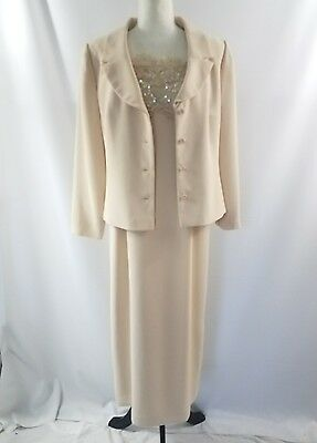 Talbots Beige Sequined Lace Full Length Mother Bride Dress Gown Jacket 14 Petite