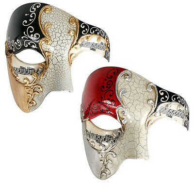 Maestro Mens Masquerade Eye Mask Black and Gold Or Red And Silver