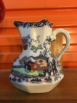 Antique English Masons Pottery Chinoiserie Decorated Jug