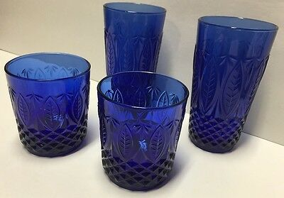 Avon Royal Sapphire Blue Arcoroc France Glass Cobalt Crystal Lot of 4 Tumblers