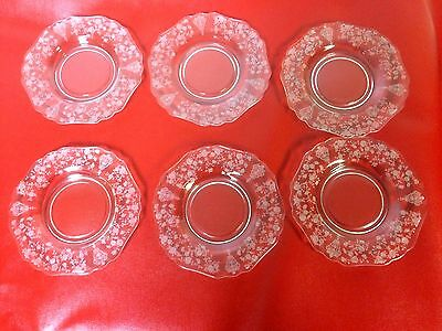 """Rare Cambridge Rose Point Rosepoint Set of 6 Bread Plate 6.3"""" #1"""