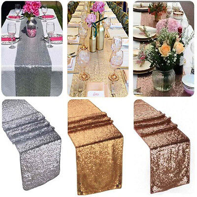 275*30cm Glitter Sequin Table Runner Cover Cloth Sparkly Wedding Party Decor  US