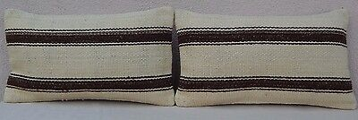 12'' X 20'' Natural Kilim Throw Pillow Covers Set of 2 Organic Couch Pillows