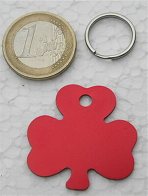 MEDAILLE GRAVEE CHIEN CHAT TREFLE ROUGE COLLIER GRAVURE 1 ou 2 faces