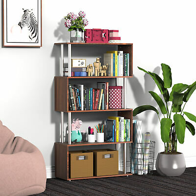 "57"" 4 Level S Shape Bookshelf Storage Display Unit Furniture Organizer Walnut"