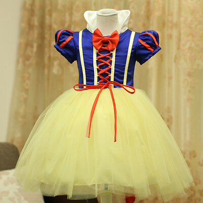 HOT Kids Girls Snow White Princess Halloween Party Cosplay Costume Dress 3-10Y