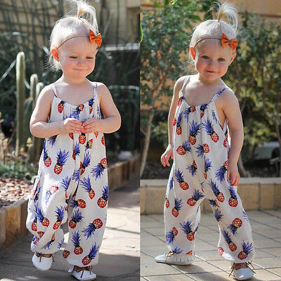 Summer Newborn Toddler Kids Baby Girls Romper Outfits Pineapple Sunsuit Clothes