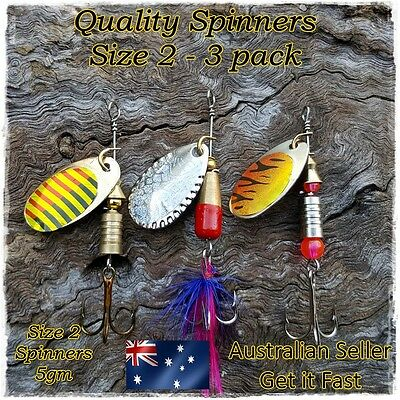 3 Redfin & Trout Fishing Lures Spinners, Perch Spinning Lures Yellowbelly size 2