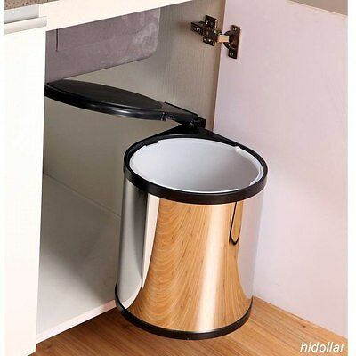 Kitchen Office Laundry Concealed Bin Swing Out Rubbish Bin Stainless Steel 12L