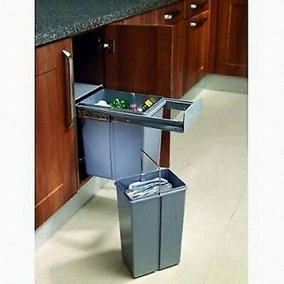 Ball Bearing Kitchen Concealed Pull Out Sliding Bin Waste Dual Bin 30L Steel Frm