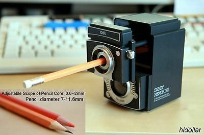 Hand Rotating Manual Steel Pencil Sharpener Cylinder Blade Auto Stop Adjustable