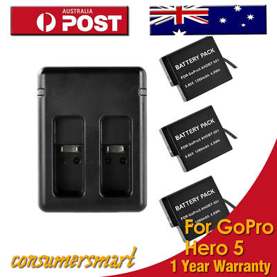 3x 1280 mAh AHDBT-501 Battery +USB Dual Charger For GoPro Hero 5 Sport Camera AU