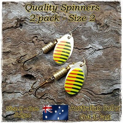 2 Redfin Fishing Spinners, Trout Fishing Lures, Perch, Yellowbelly, Bass, Size 2