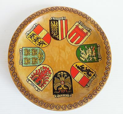 Hand Painted Pokerwood Wall Hanging Plate GERMAN TOWN FLAG EMBLEMS