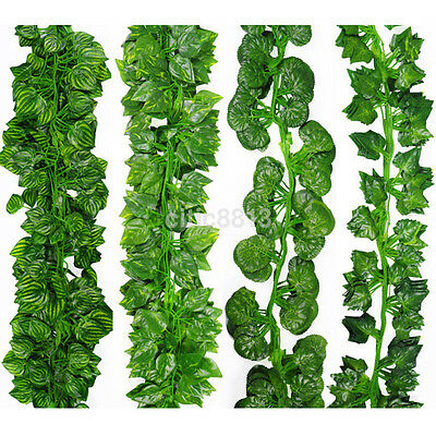 New Artificial Ivy Fake Foliage Leaf Flowers Plants Garland Garden Decoration 2M