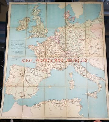 """Main Automobile Routes Of The British Isles Map 1920 35X46"""" Good Beadel Freeborn"""