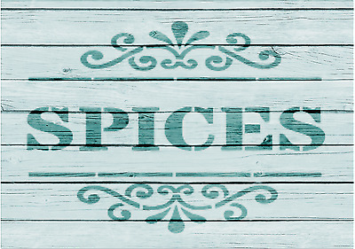A5 Stencil,SPICES, garden, signs,Shabby, Chic,fabric, furniture