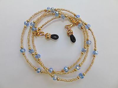 Beaded Blue Gold Coloured Spectacle  Glasses Chain Lanyard Necklace.