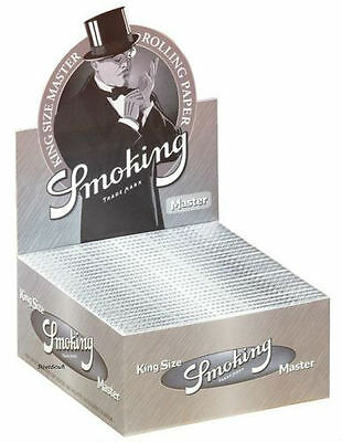 1 Box Smoking MASTER Slim King Size Papers 50 Heftchen x 33 Blättchen Silver
