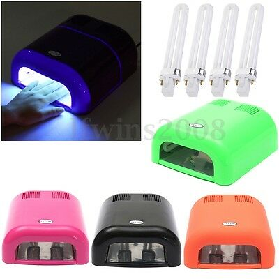 36W Lampe UV Sèche Vernis à Ongle Gel Séchoir Cure Lamp 4 Ampoule Dryer Nail Art