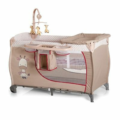 Hauck Babycentre Playpen Travel cot+musical mobile+changer Giraffe Brown Beige