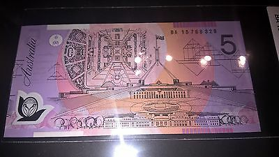 RARE 2015, $5 Note  With First Prefix  BA15 768 329