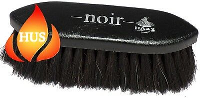 Haas brush for horses Noir in black with 1.97 inches long horsehair bristles