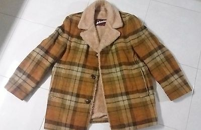Vintage retro WINDBREAKER wool check jacket with faux fur | Size M