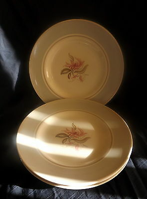 Woods Ivory Ware Set Of 4 Dinner Plates White & Green With Flowers. Size 25 cm.