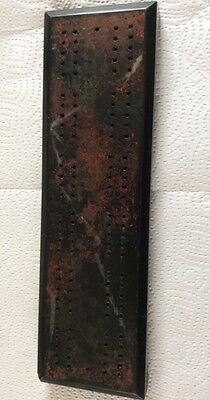 ANTIQUE SLATE CARVED CRIBBAGE BOARD RARE UNUSUAL HEAVY Marble Effect(not Wooden)