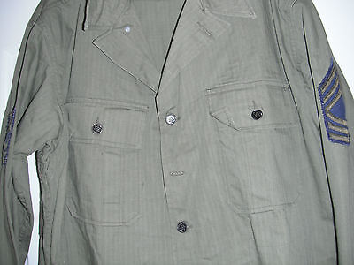 WW2 ORIGINAL HBT SHIRT 2nd ISSUE Size 42R FITS to 46 CHEST HERRINGBONE TWILL