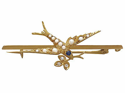 Sapphire, Diamond & Seed Pearl, 15ct Yellow Gold 'Swallow' Bar Brooch - Antique