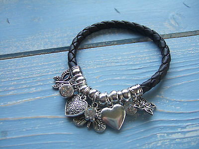 FAB SILVER TONE BALL PURPLE LEATHER HEART /& CRYSTAL BIJOUX CHARM BRACELET