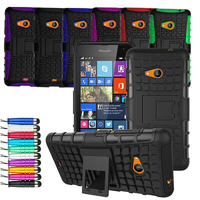 For Microsoft Lumia 550 Heavy Duty Shock Proof Hard Case Cover + Screen + Stylus
