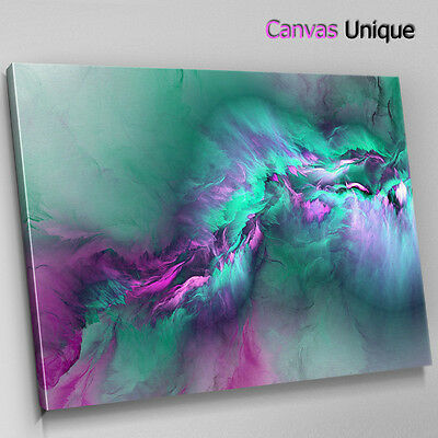 AB1495 teal fuchsia pink cloudy Abstract Canvas Wall Art Framed Picture Print