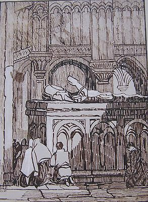 19th CENTURY, Ink Drawing, FIGURES KNEELING BEFORE A TOMB