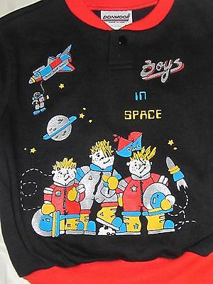 Vintage Donmoor Boys in Space Long Sleeve Pullover Shirt 4 Toddler NEW 80's