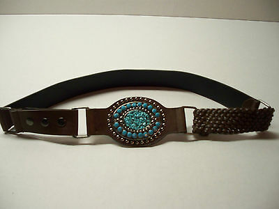 "Women's Cowgirl's Western Belt - Studded Faux Turquoise Buckle size L  36""  EUC!"