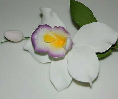 Pearly Orchid Sugar Spray, Sugar Flower,  Cake Topper, Gum, Sugar Paste.