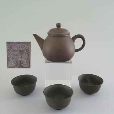 GROUP OF CHINESE YIXING TEA POT AND CUPS - SIGNED - Zisha
