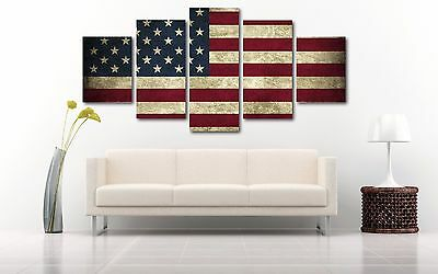 833ae5244a2d Rustic American Flag Split Canvas Wall Art Up To Five Piece Home Decor Print