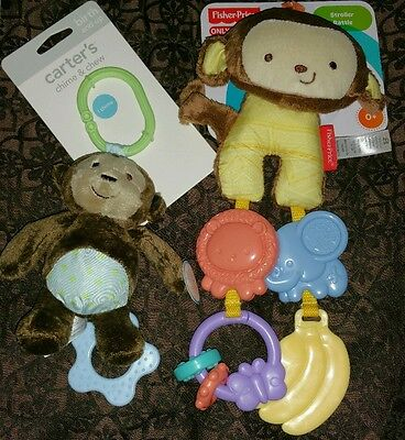 Carter's Monkey Chime & Chew and Carter's Monkey Stroller Rattle