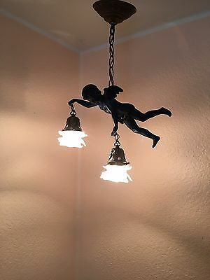 Vintage Antique French Flying Cherub Chandelier Hanging Pendant Frosted Glass